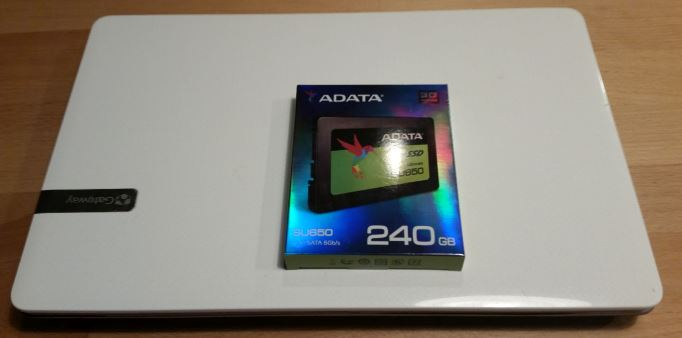 Adata SU650 SSD replacement in GAteway laptop
