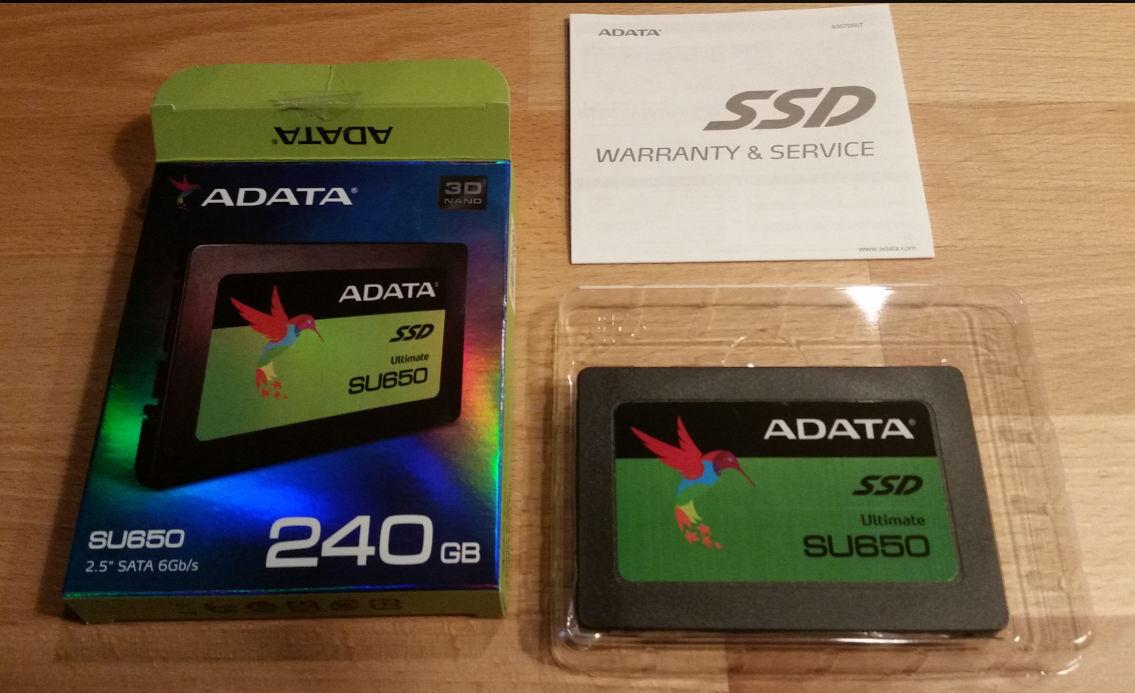 Adata SU650 SSD unboxed.
