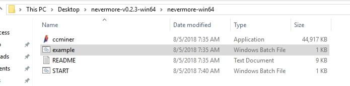 Nevermore miner folder for Ravencoin mining