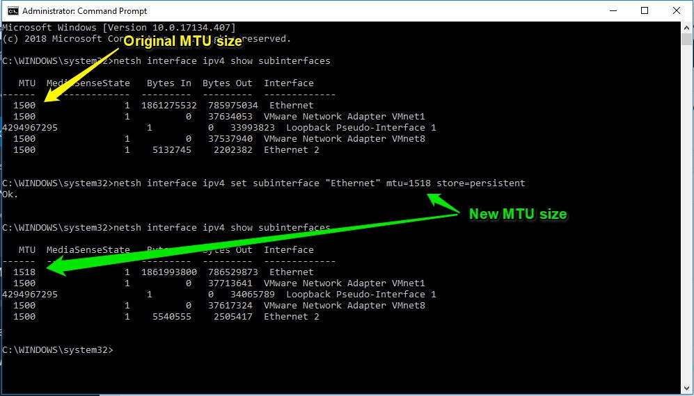 Change MTU Size in Window 10