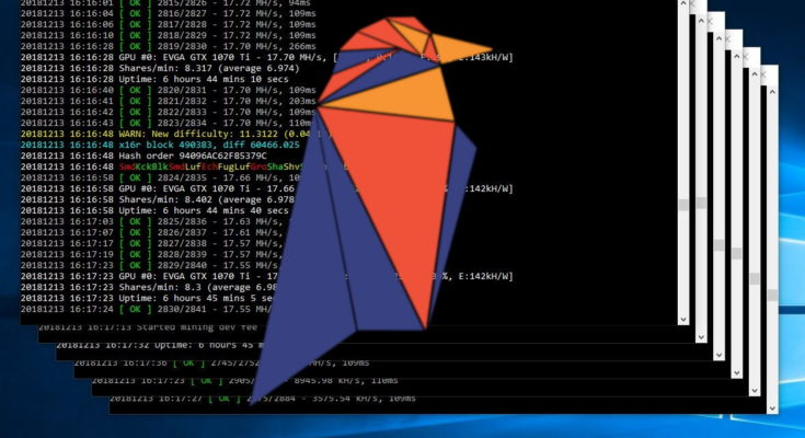 Ravencoin Hashrate being shown in image of trex miner.