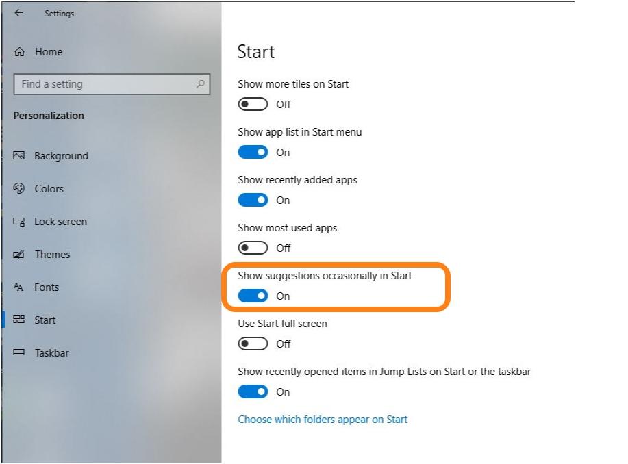 Remove Ads in start menu Windows 10