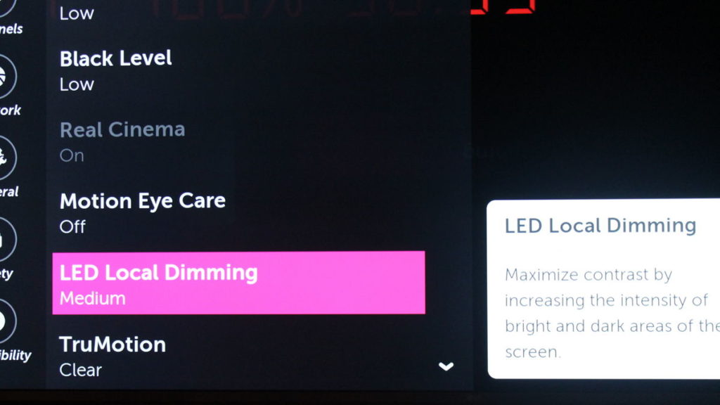 LG Vertical Light banding LED Local Dimming feature.
