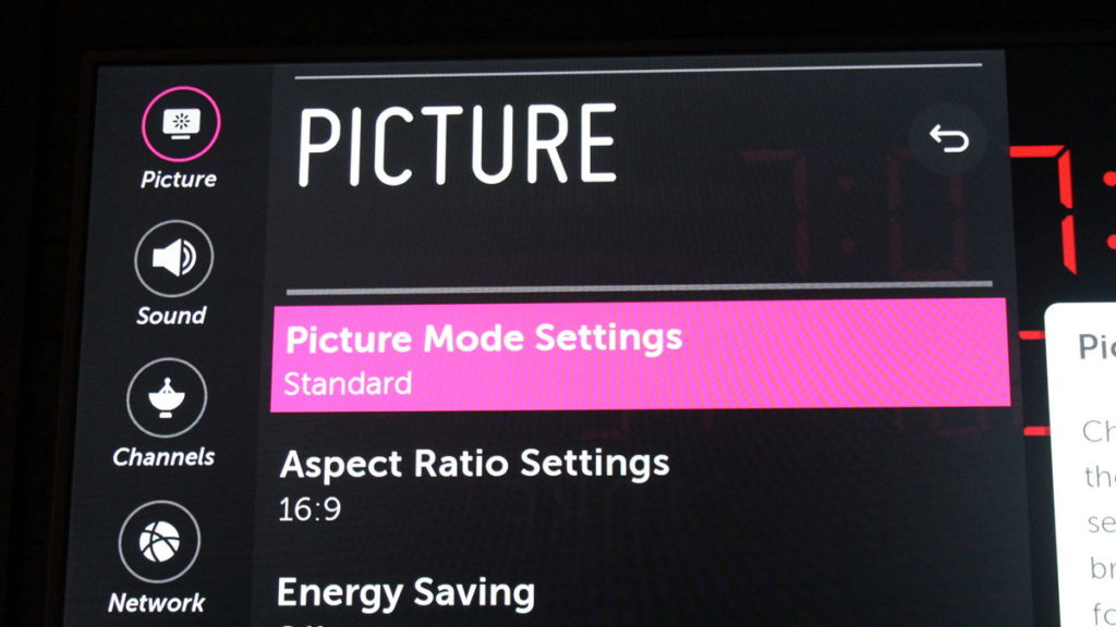 LG 70UK65 picture mode settings to fix LG light band issue.