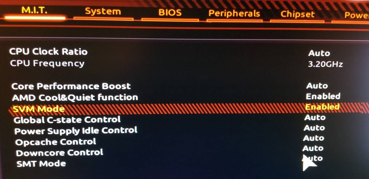 AMD-V is disabled in the BIOS