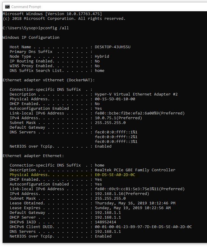 MAC address Windows 10 - ipconfig -all example