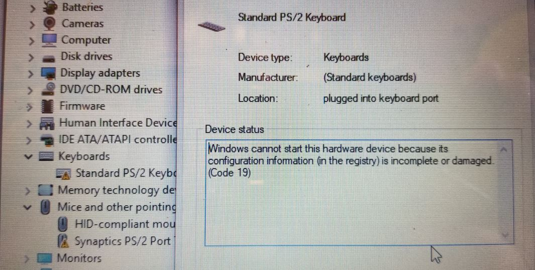 HP Pavilion p033cl Keyboard not working