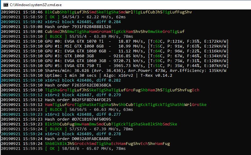 Mining Ravencoin x16rV2 on testnet with TRex miner