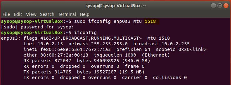 using ifconfig to change MTU size in ubuntu.