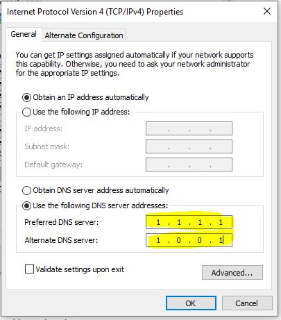 Cloudflare Win 10 DNS settings