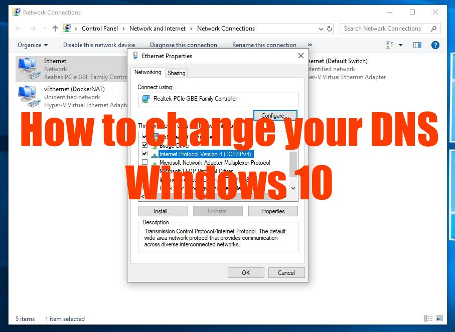 cover change DNS in Win10