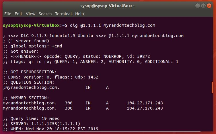 Linux dig command to check DNS