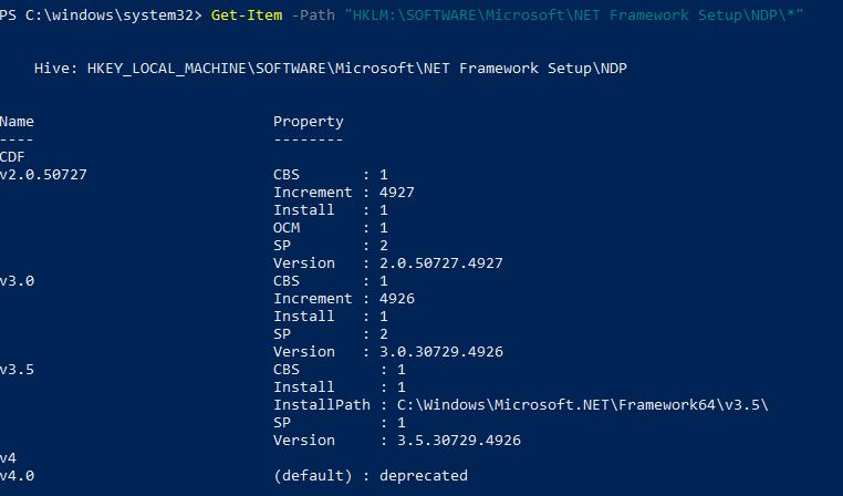 Powershell NET framework