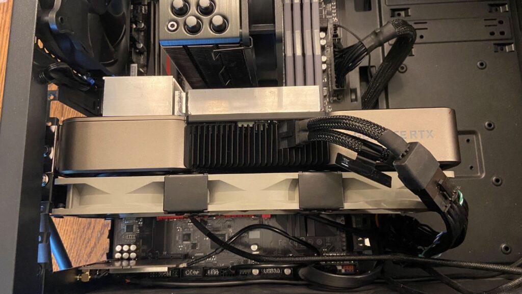 RTX3080 extra heatsink and fan setup